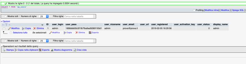 cambiare password dal mysql